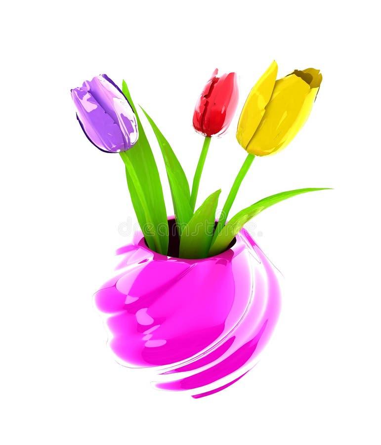 与叶子的郁金香在花瓶 向量例证