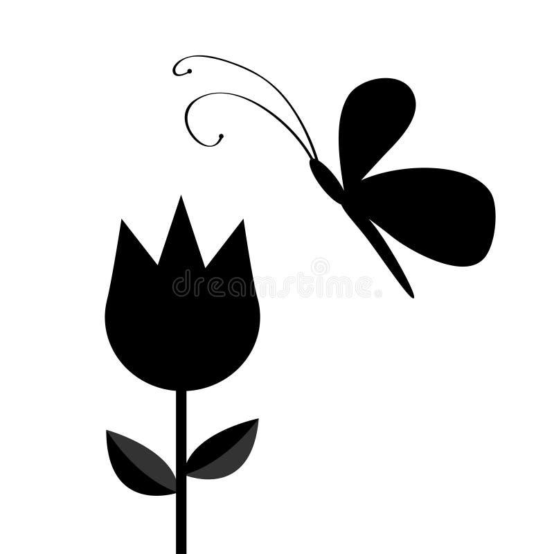 与叶子的郁金香花和飞行蝴蝶昆虫染黑剪影形状形式 简单的贴纸模板 花卉植物装饰e 向量例证