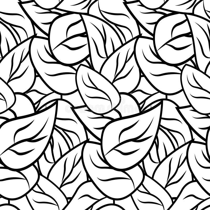 与叶子的黑白乱画样式 库存例证