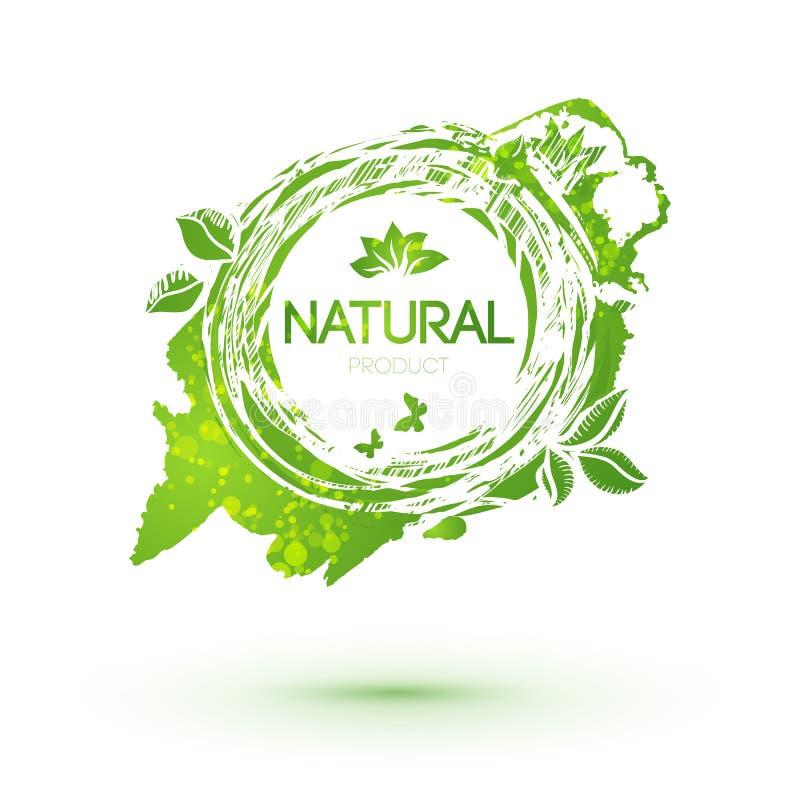 与叶子的绿色飞溅商标自然产品的 向量例证