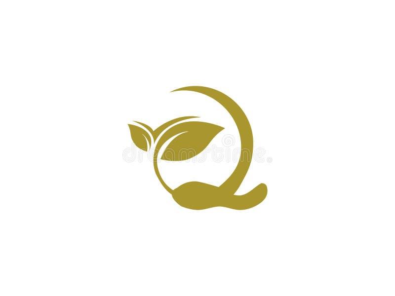 与叶子绿色设计商标图表烙记的信件元素的首写字母Q自然 皇族释放例证