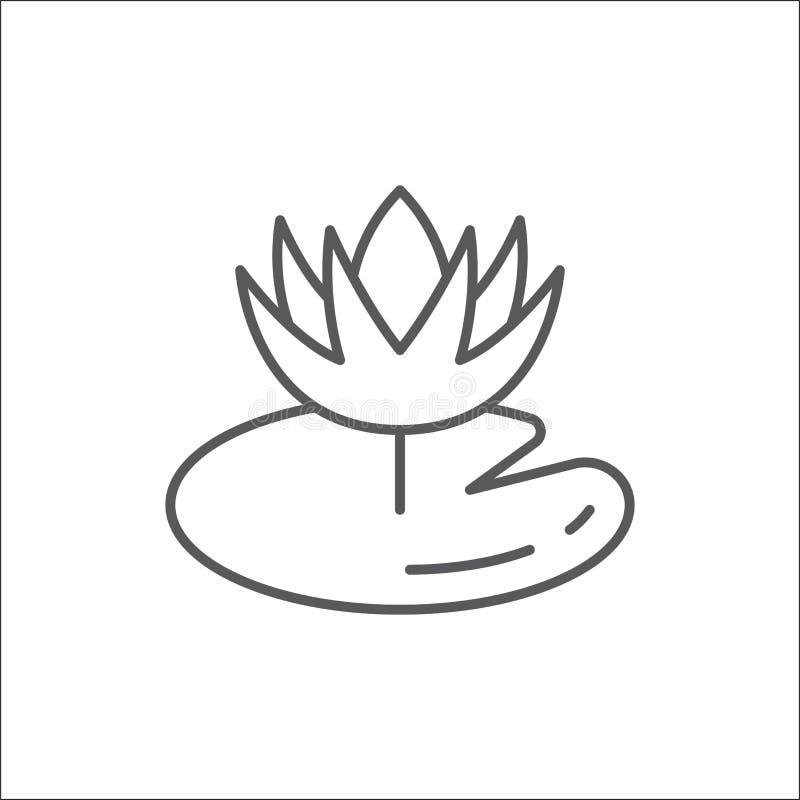 与叶子编辑可能的概述象-映象点完善的标志的荷花花在稀薄的线艺术的睡莲科绽放 库存例证