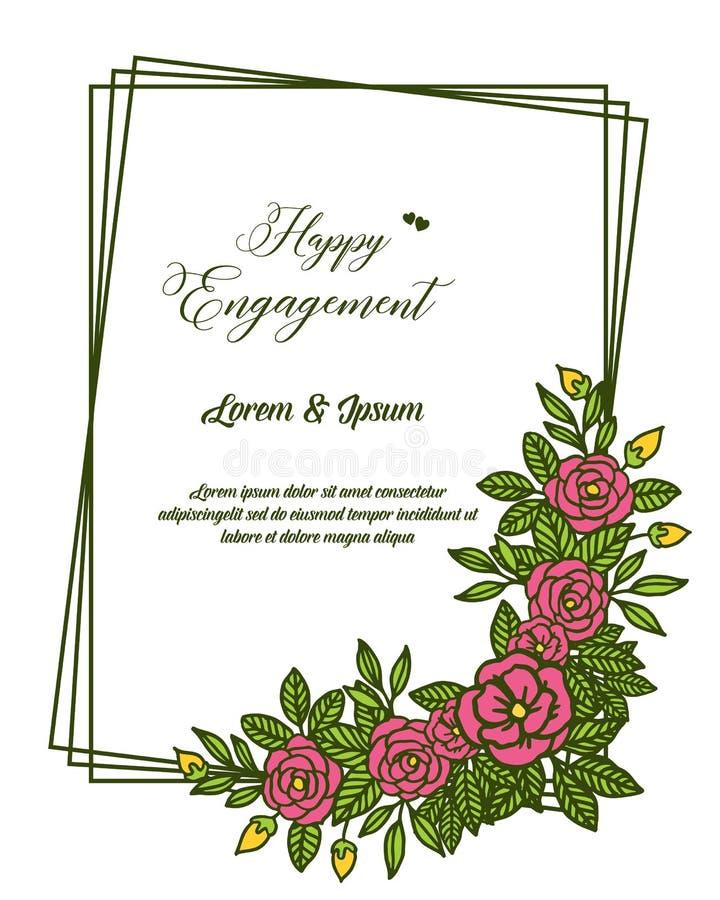与叶子花框架样式的传染媒介例证愉快的订婚贺卡  向量例证