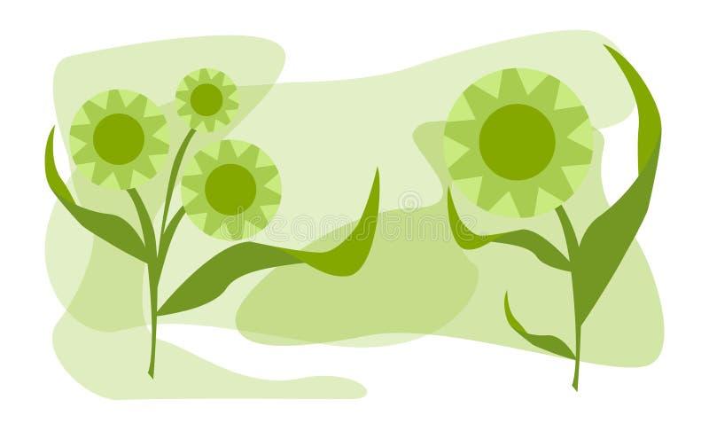 与叶子逗人喜爱的例证传染媒介的两朵花 向量例证