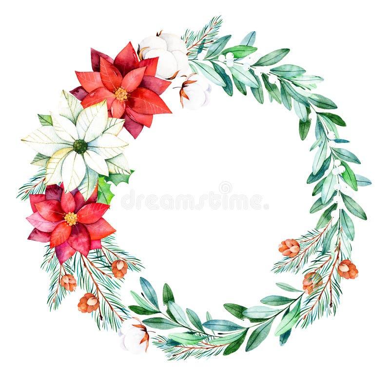 与叶子,分支,冷杉木,棉花的明亮的花圈开花 向量例证