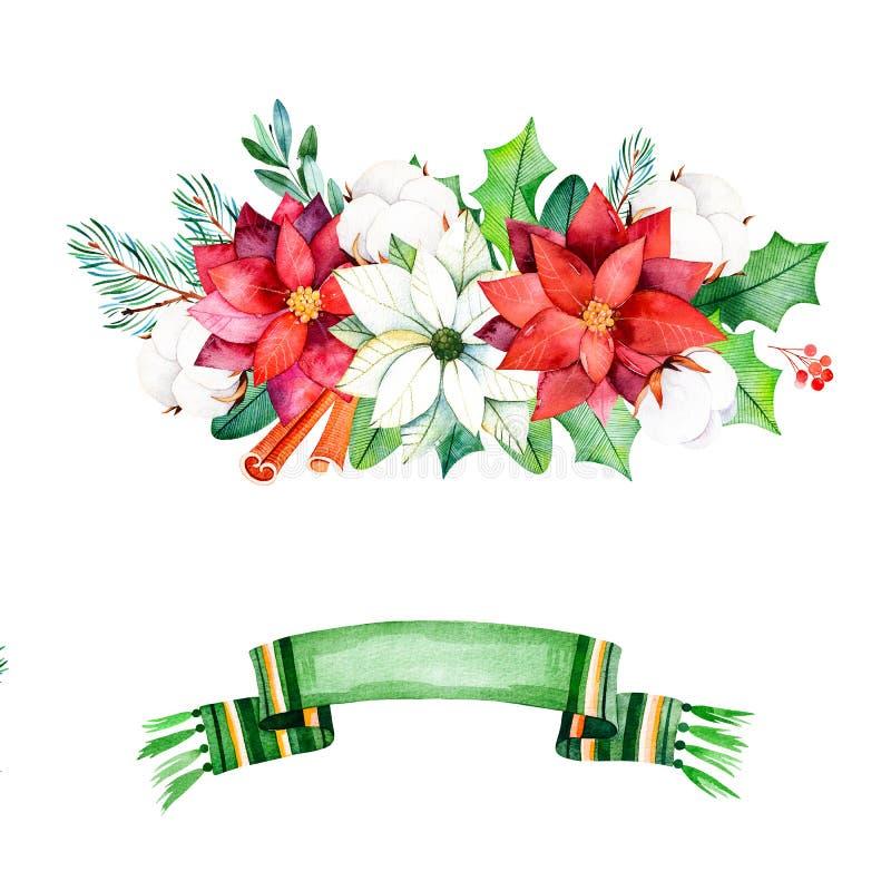 与叶子,分支,棉花的冬天花束开花,莓果 向量例证