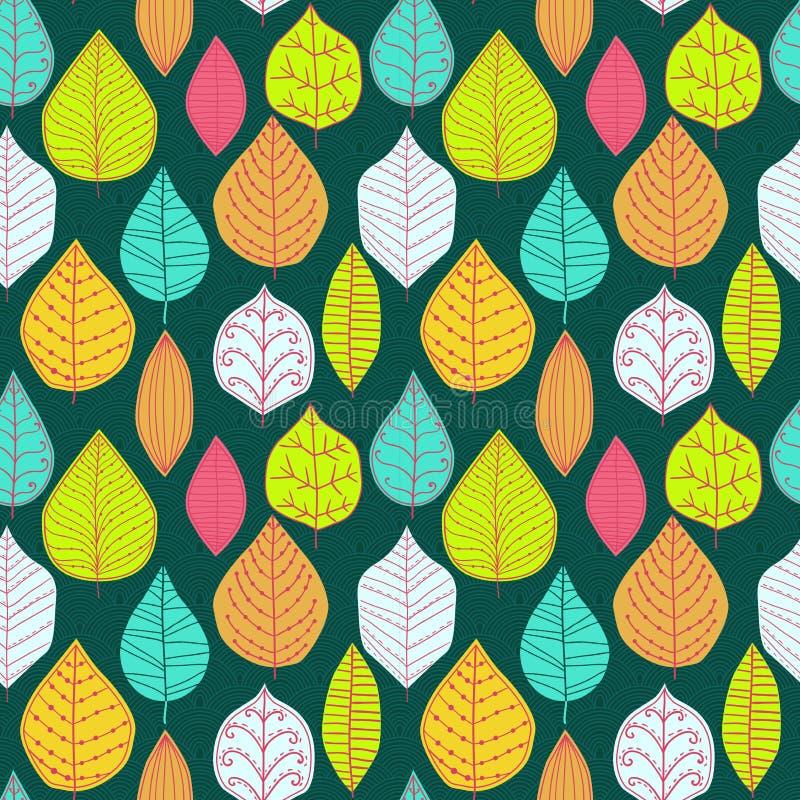 与叶子,秋天叶子背景的无缝的样式 皇族释放例证