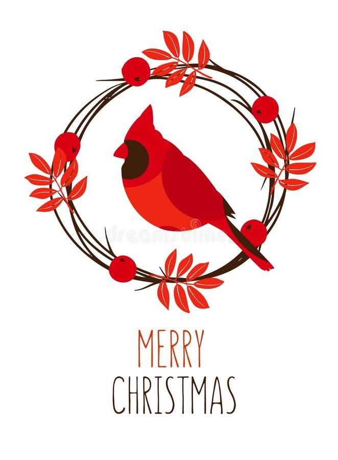 与叶子,红色分支主要和花圈的圣诞快乐卡片在白色背景的 向量 库存例证