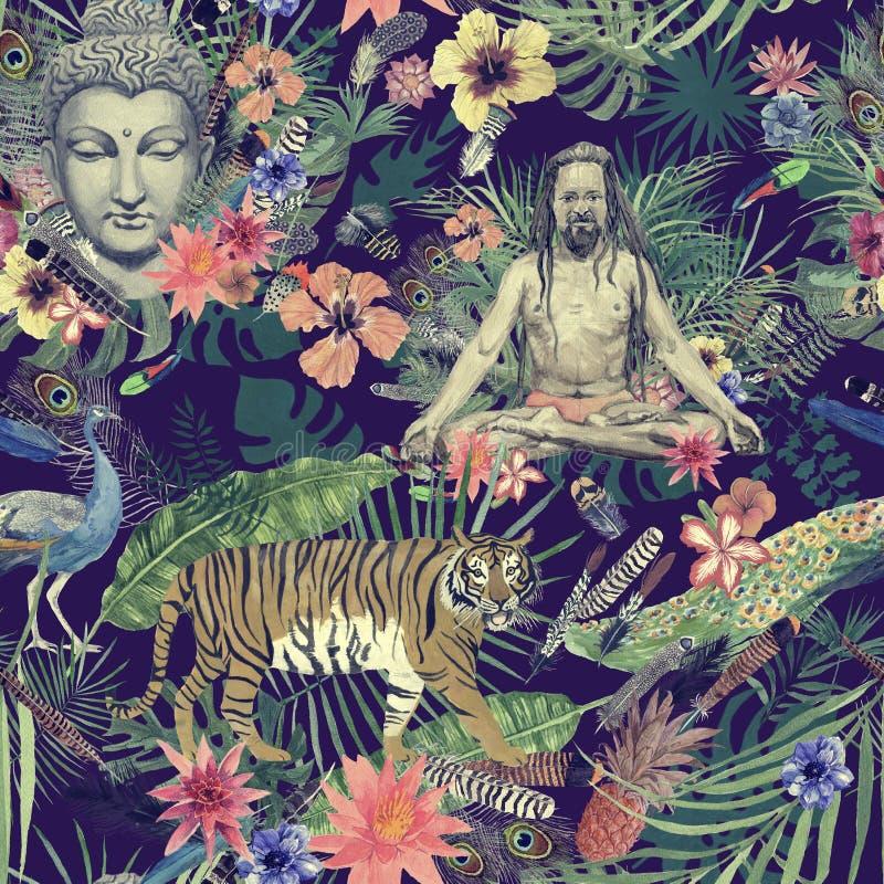 与叶子,羽毛,花,信奉瑜伽者,老虎的无缝的手拉的水彩样式 库存例证