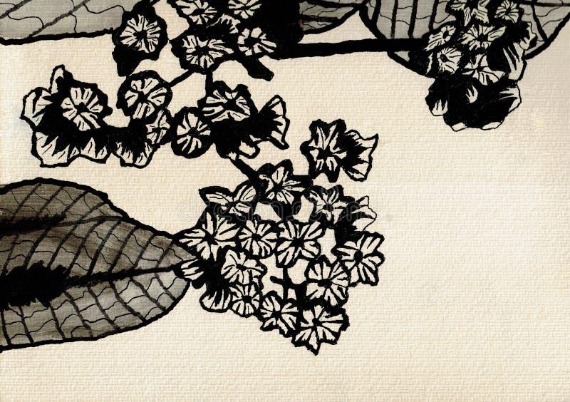 与叶子-墨水图画的小花 皇族释放例证