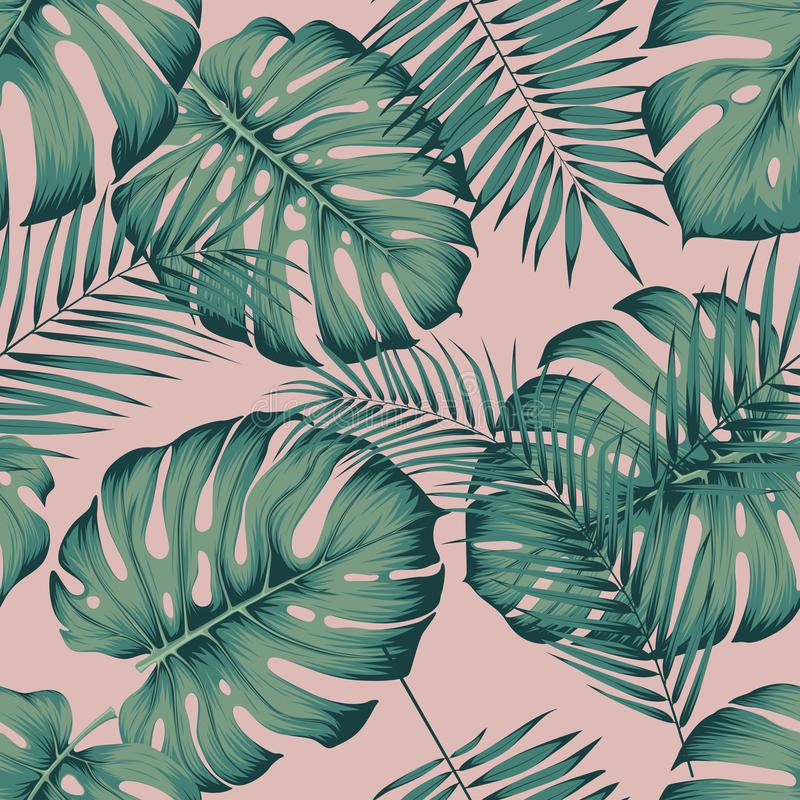 与叶子monstera的无缝的热带样式和在桃红色背景的槟榔树棕榈叶 向量例证