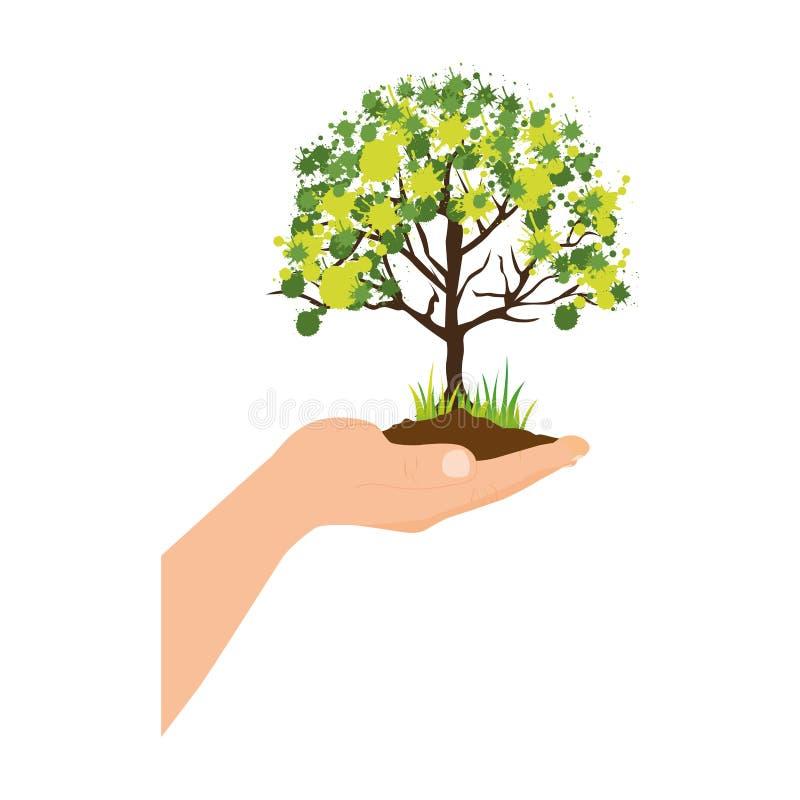 与叶茂盛树的五颜六色的剪影在手 库存例证