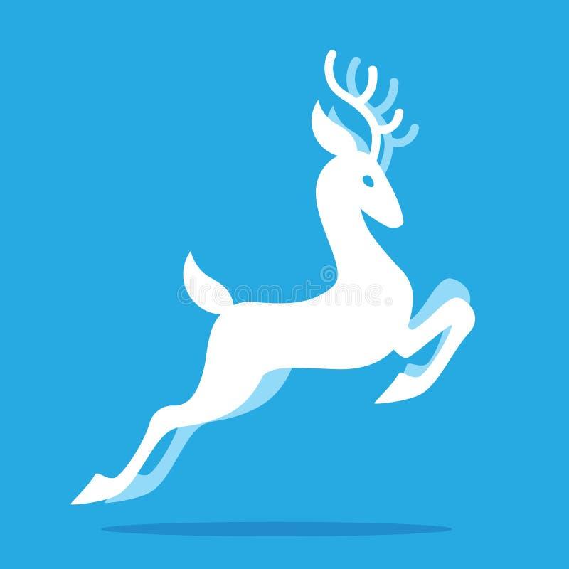 与吃草的鹿角的优美的鹿跳跃和 导航白色神仙的鹿剪影的例证在平的样式的在蓝色 库存例证