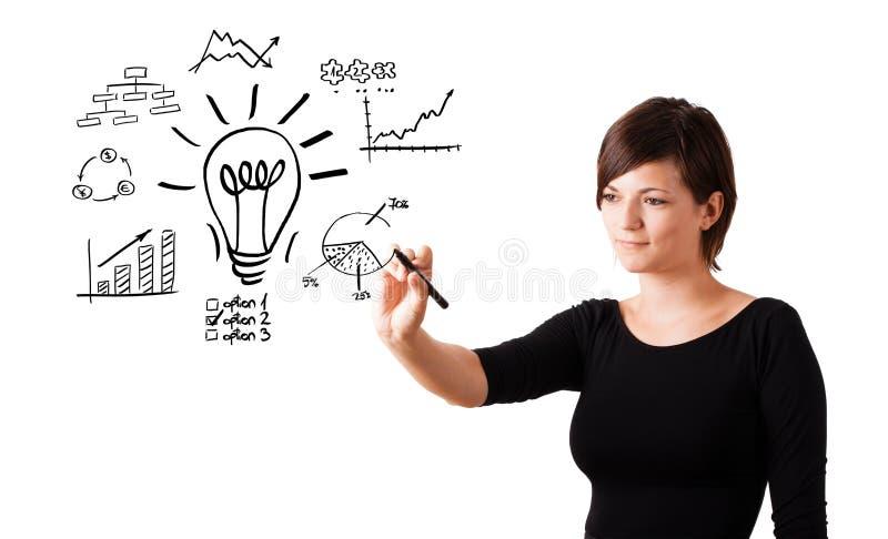 年轻女商人画与各种各样的图的电灯泡 免版税库存图片