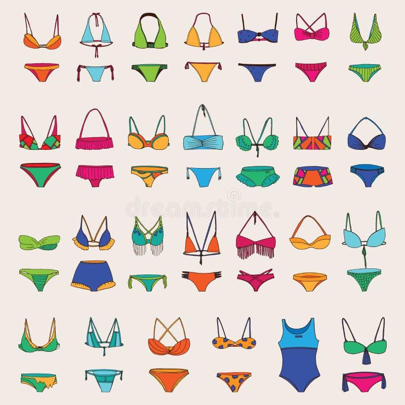 与各种各样的妇女泳装的传染媒介手拉的集合 明亮的颜色和黑暗的概述另外比基尼泳装收藏的 时尚夏天 皇族释放例证
