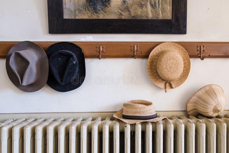 与各种各样的帽子的墙壁挂衣架对此 免版税图库摄影