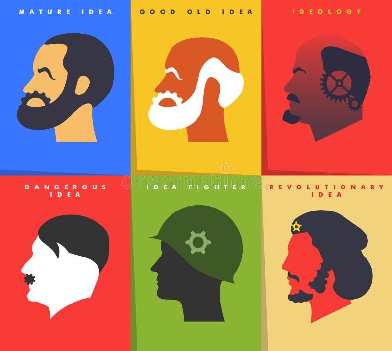与各种各样的想法概念的海报 皇族释放例证