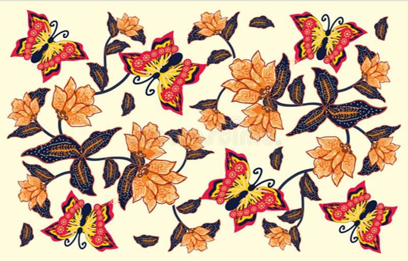 与各种各样的样式的印度尼西亚蜡染布设计 库存例证