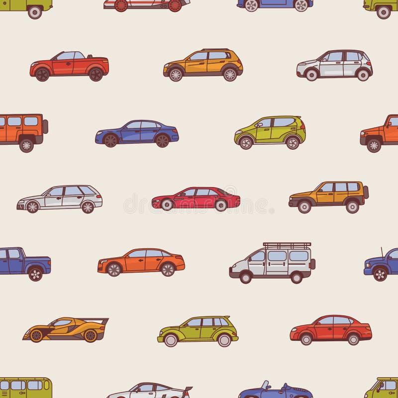 与各种各样的类型汽车的无缝的样式-敞蓬车,轿车,提取,斜背式的汽车,SUV,微型货车 背景与 皇族释放例证