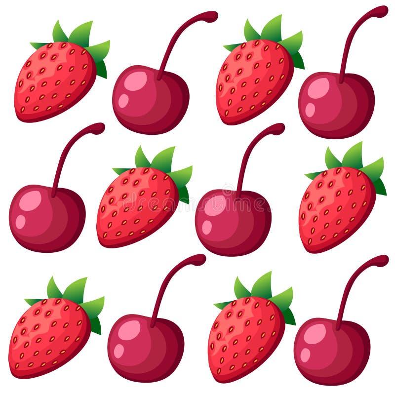 与各种各样的莓果网站页的无缝的样式和流动app设计传染媒介例证 库存例证