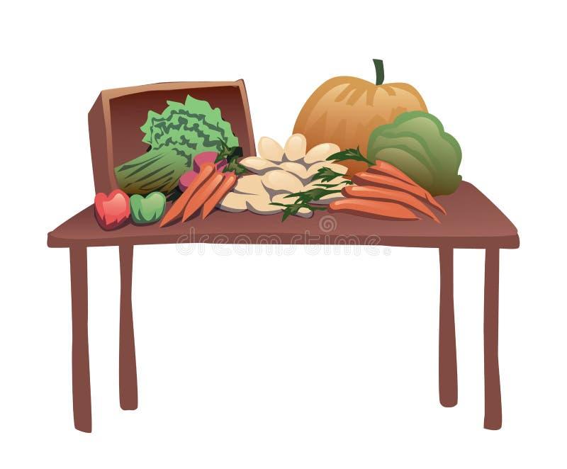 与各种各样的菜的木桌 向量例证,查出在白色 向量例证