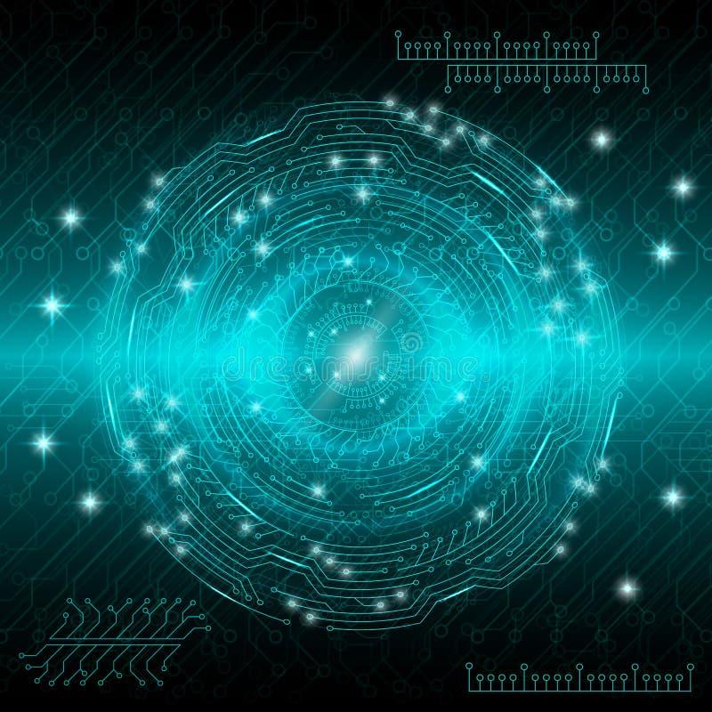与各种各样的转动的元素的蓝色抽象数字式技术背景 也corel凹道例证向量 库存例证