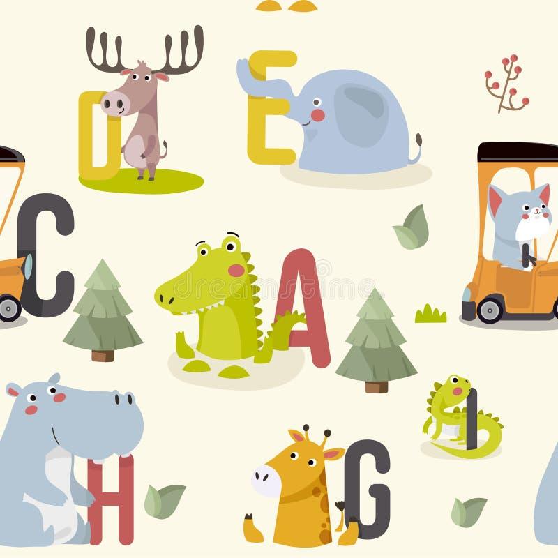 与各种各样的逗人喜爱和滑稽的动画片动物园动物的无缝的样式在背景 向量例证