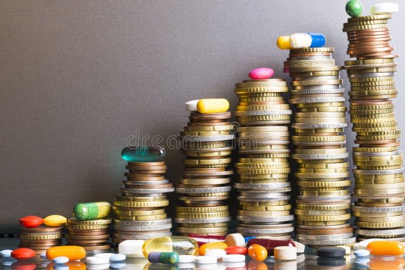 与各种各样的配药药物的高治疗费用概念在金钱梯子 库存照片