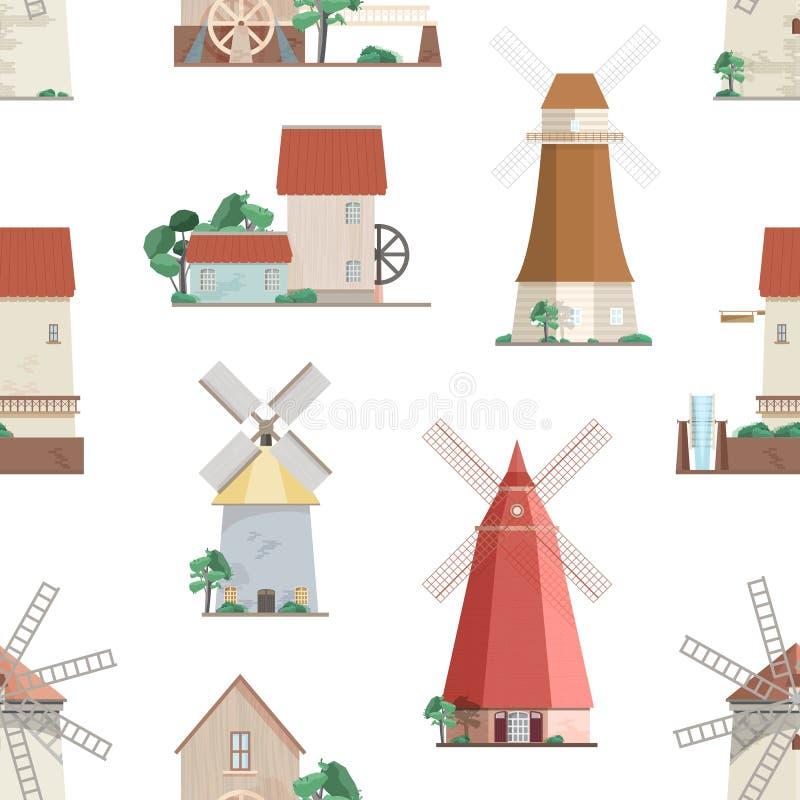 与各种各样的风车的无缝的样式在白色背景 与磨房的背景与转动的风帆或刀片 五颜六色 库存例证