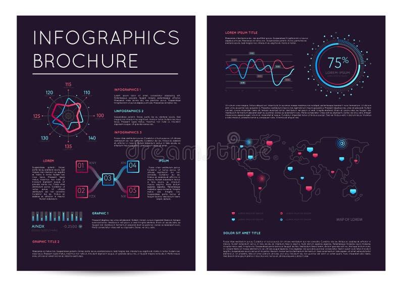 与各种各样的infographics的商业报告 向量例证
