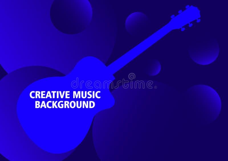 与吉他剪影的深蓝音乐背景和梯度圈子形状,3d作用,空间,地方的深度为 向量例证