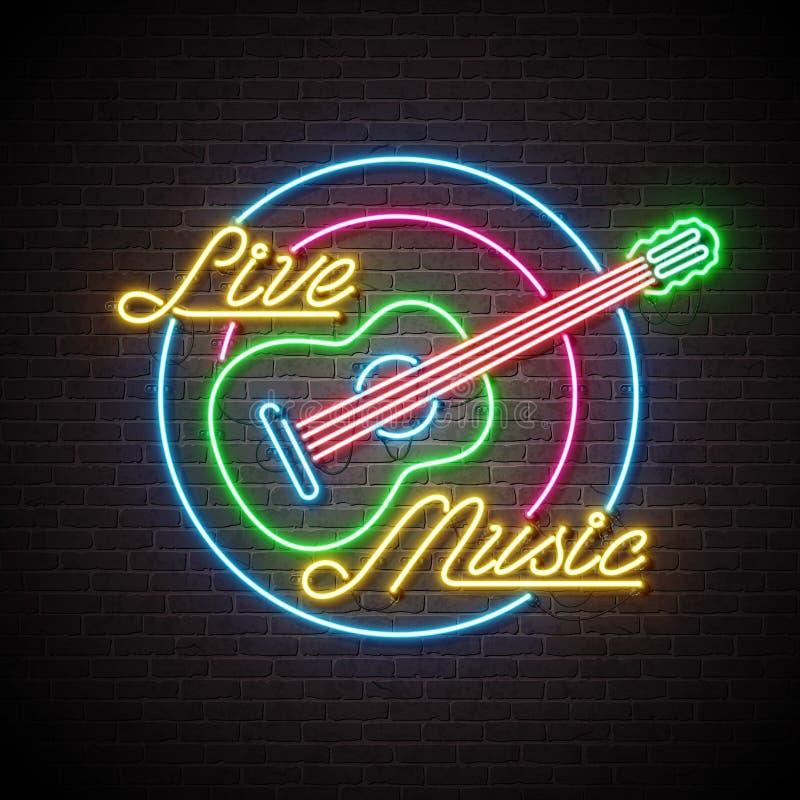 与吉他的实况音乐在砖墙背景的霓虹灯广告和信件 设计装饰的,盖子,飞行物模板或 皇族释放例证