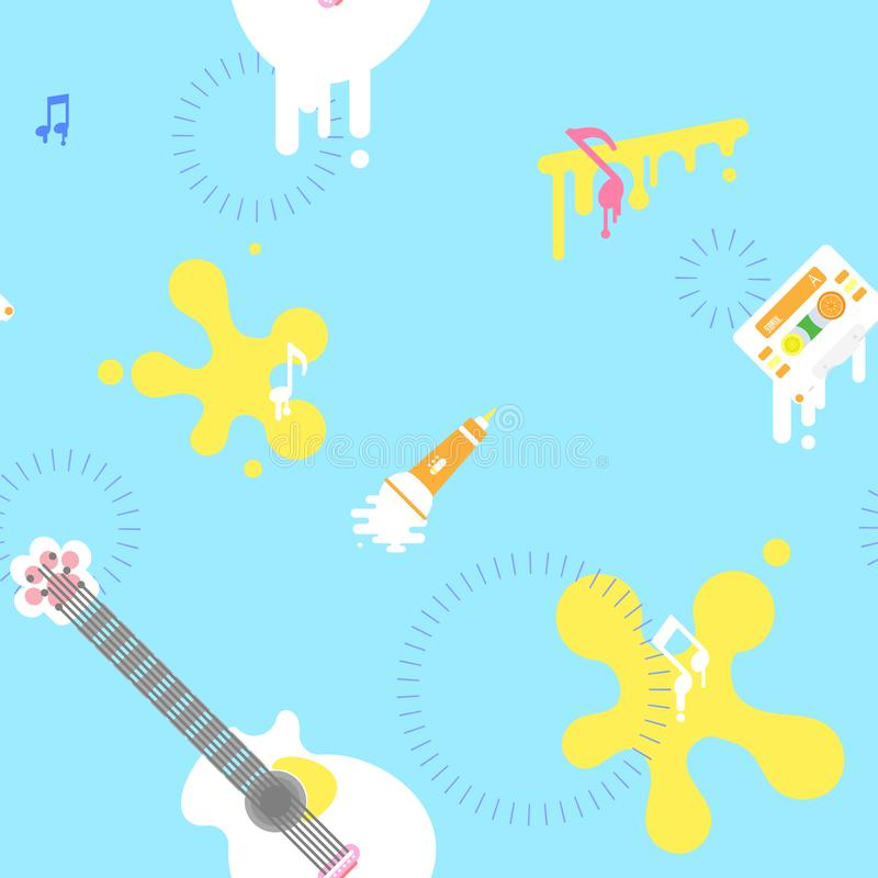 与吉他,盒式磁带,话筒,音乐笔记重复样式的无缝的逗人喜爱的乐器艺术摘要在蓝色背景中 皇族释放例证