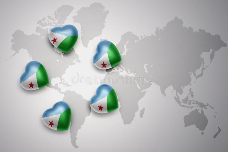 与吉布提国旗的五心脏世界地图背景的 皇族释放例证