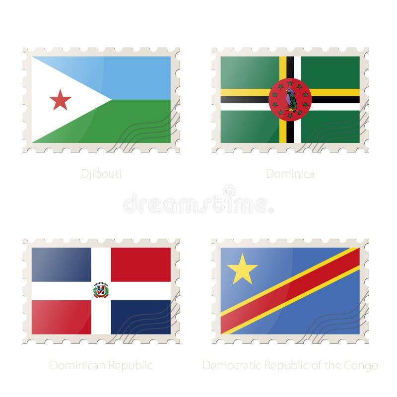与吉布提,多米尼加,多米尼加共和国,刚果民主共和国的图象的邮票旗子 向量例证