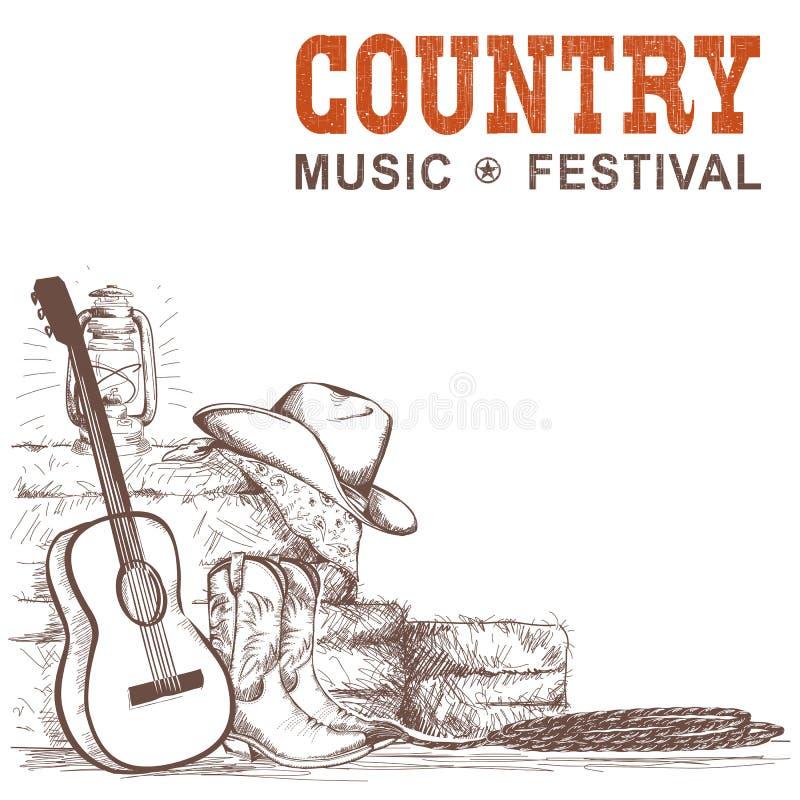 与吉他和美国牛仔的乡村音乐背景穿上鞋子a 向量例证