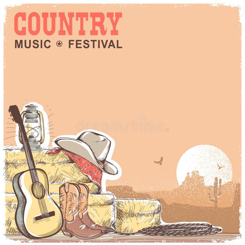 与吉他和美国牛仔equipme的乡村音乐背景 库存例证