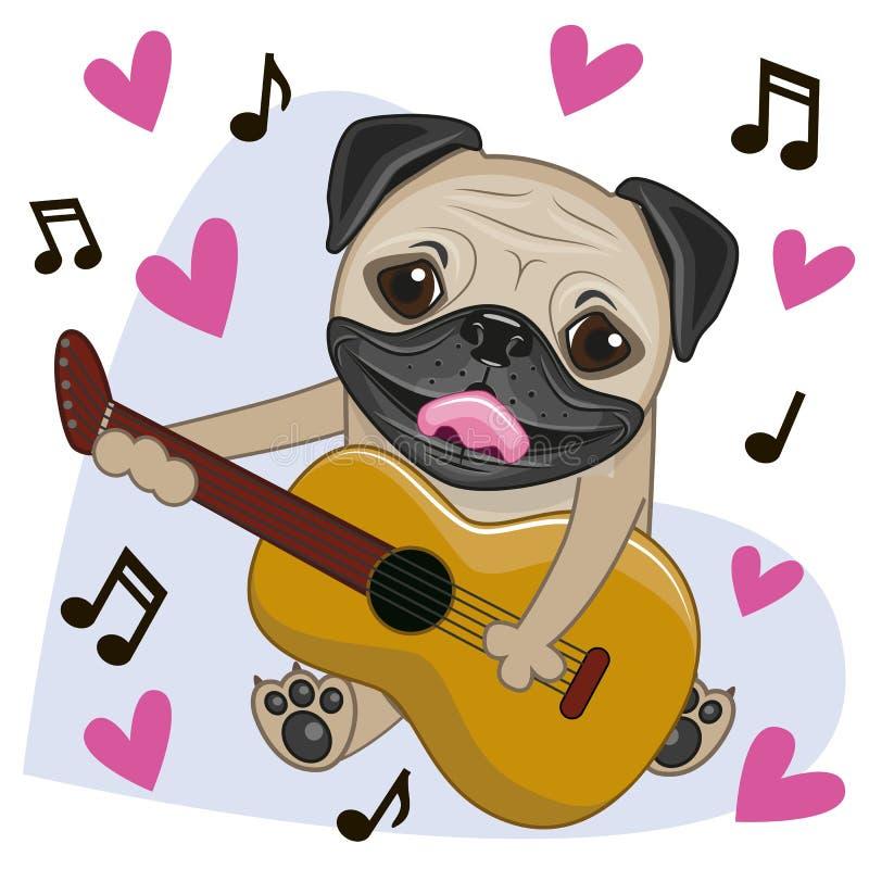 与吉他的哈巴狗狗 库存例证