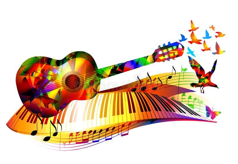 与吉他的音乐背景 皇族释放例证