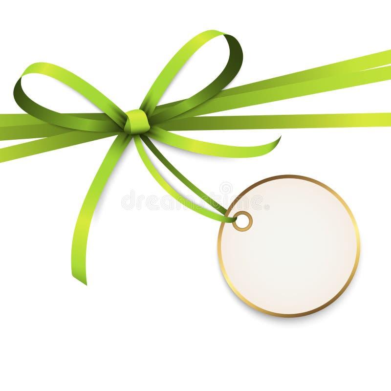 与吊标记的绿色色的丝带弓 向量例证