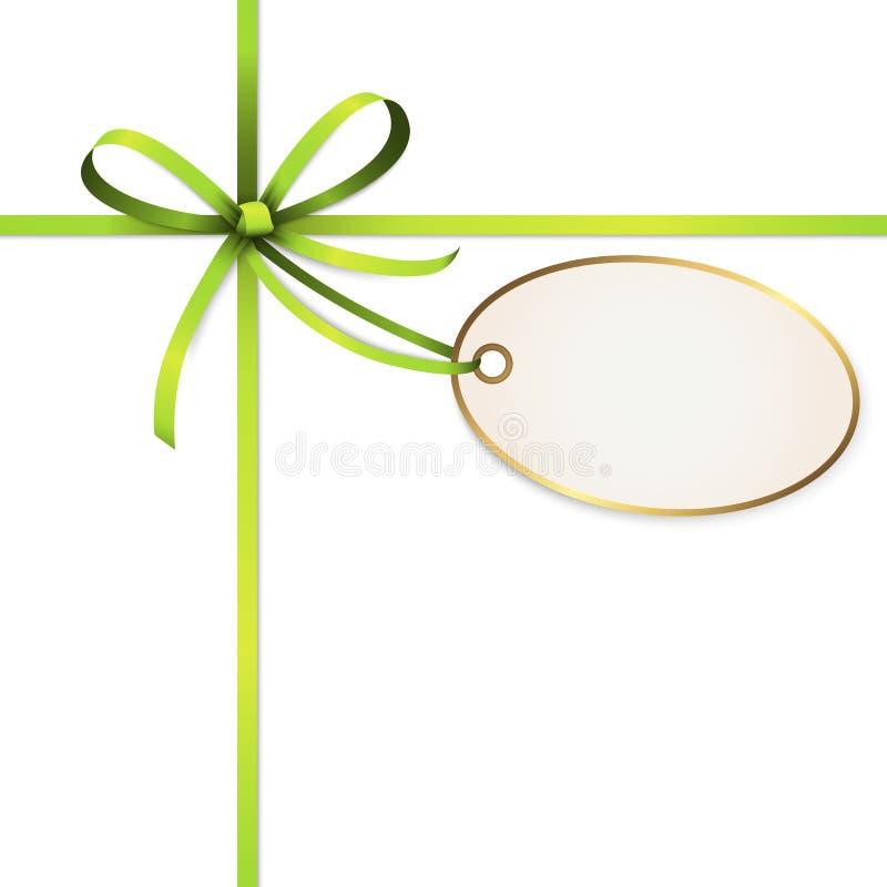 与吊标记的绿色色的丝带弓 皇族释放例证