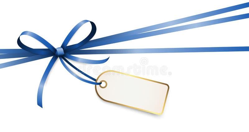 与吊标记的蓝色色的丝带弓 皇族释放例证