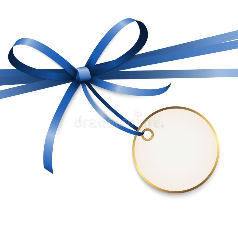 与吊标记的蓝色色的丝带弓 向量例证
