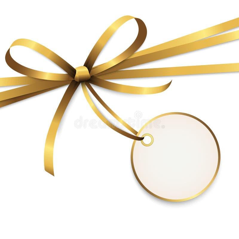与吊标记的金黄色的丝带弓 向量例证