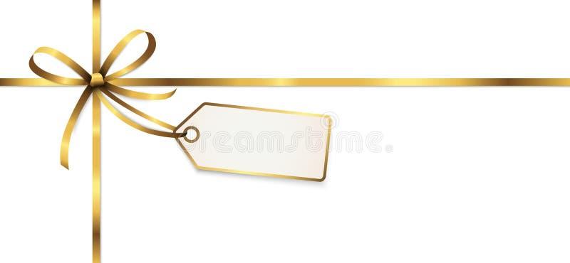 与吊标记的金黄色的丝带弓 皇族释放例证