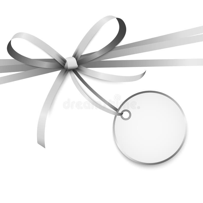 与吊标记的银色色的丝带弓 库存例证