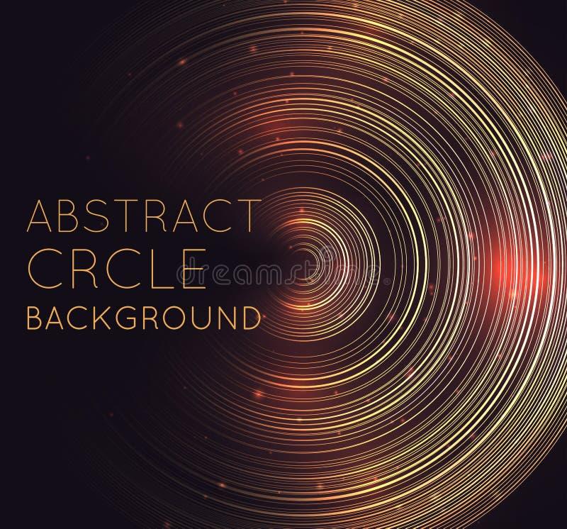 与同心圆、闪烁和空间的抽象发光的背景文本的 与亮光光晕的方形的明信片 Techno圆环 库存例证