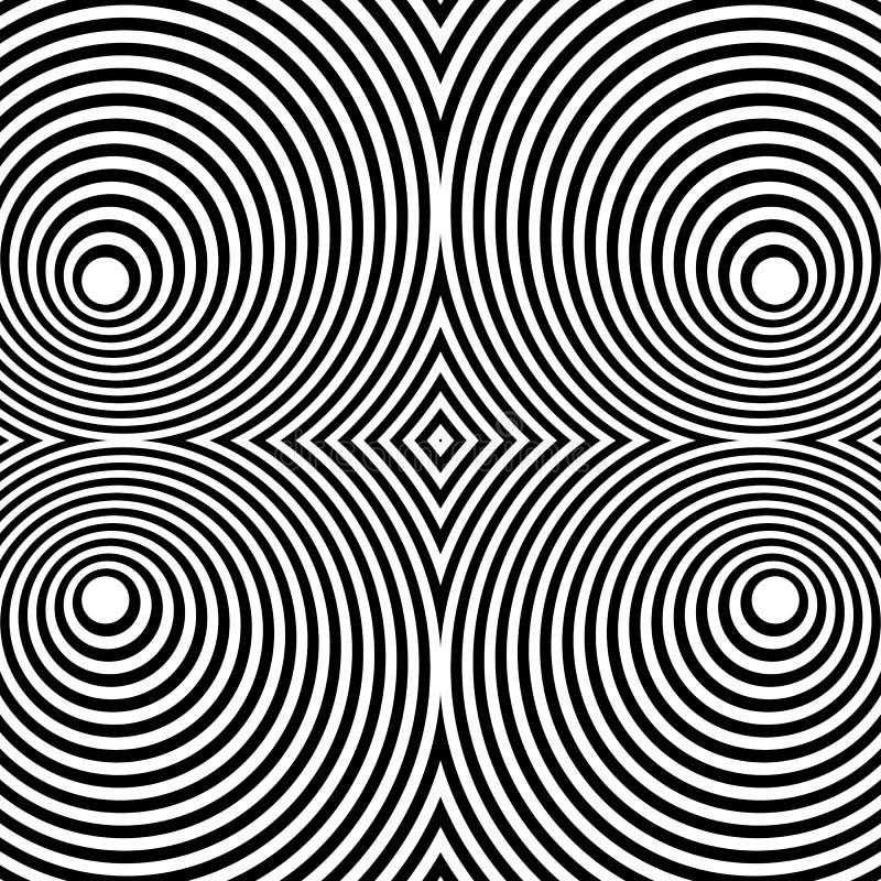 与同心圆的被反映的对称样式 抽象m 向量例证