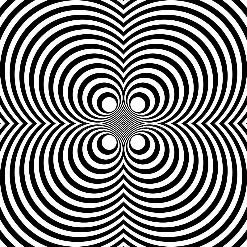 与同心圆的被反映的对称样式 抽象m 皇族释放例证
