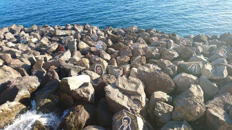 与名人的图片的岩石 免版税库存图片